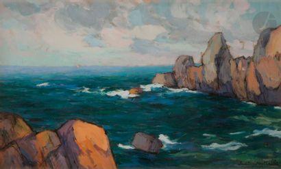 Paul Louis MESTRALLET (1886- ) Côte rocheuse...