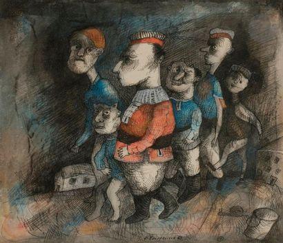 Denis POUPPEVILLE (né en 1947) Les Promeneuses,...