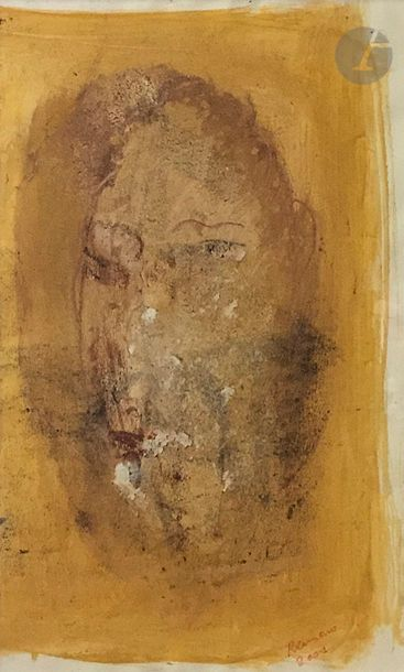 RAMON (né en 1937) Visage, 2001 Technique mixte sur papier. Signée et datée en bas...