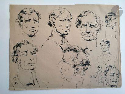 Alfred OST (1884-1945) Etude de portraits Encre. Non signée. 27.5 x 36 cm