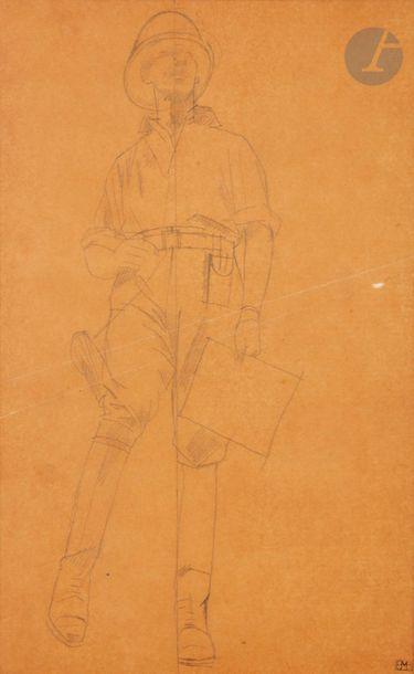 Bernard BOUTET DE MONVEL (1884-1949) Portrait de Georges-Marie Haardt Mine de plomb...