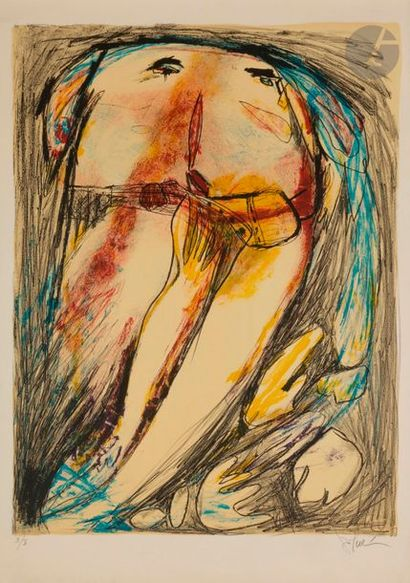 Gina PELLON (1926-2014) Femme Lithographie....