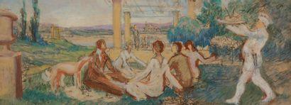 Albert DECARIS (1901-1988) Déjeuner sur l'herbe...