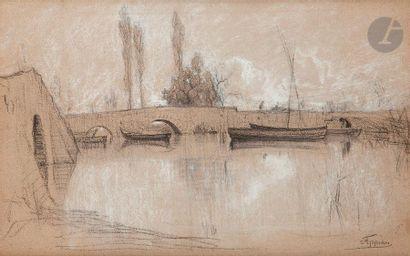 Adolphe APPIAN (1818-1898) Le Pont Crayon noir et rehauts de pierre blanche. Signé...