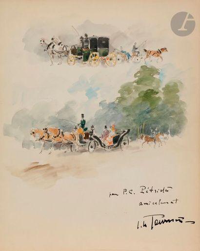 Un ensemble de 13 dessins et une eau-forte de Hermine DAVID, Ortiz de ZARATE, Marthe...