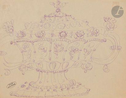 André DERAIN (1880-1954) Étude de soupière Plume et encre mauve. Porte le timbre...