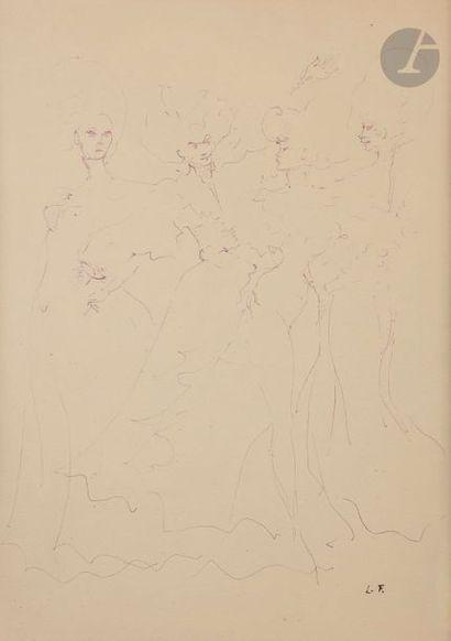 Leonor FINI (1908 - 1996) Personnages Encre. Monogrammé. 34 x 25,5 cm