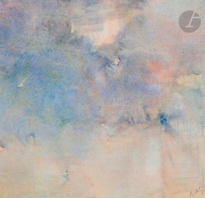 ÉCOLE MODERNE DU XXE SIECLE Composition Aquarelle. Porte une signature en bas à...