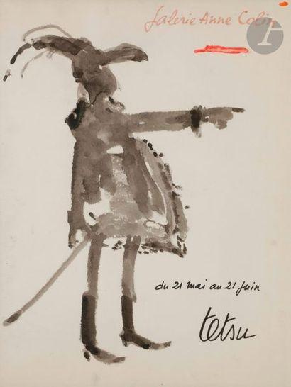 TETSU (1913-2008) Projet d'affiche pour la Galerie Anne Colin Encre et aquarelle....