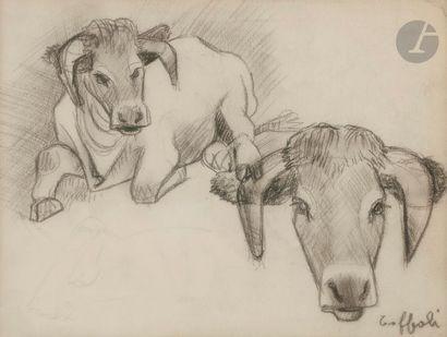 Louis TOFFOLI (1907-1999) Etude de vaches...