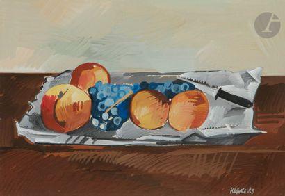 Jaroslav KLAPSTE (1923-1999) Nature morte aux pommes et au raisin, 1989 Gouache....
