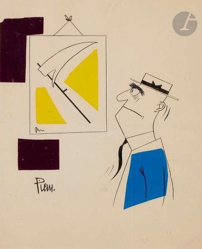 PIEM (né en 1923) L'Amateur d'art Encre et collage. Signée en bas à gauche. (Pli...