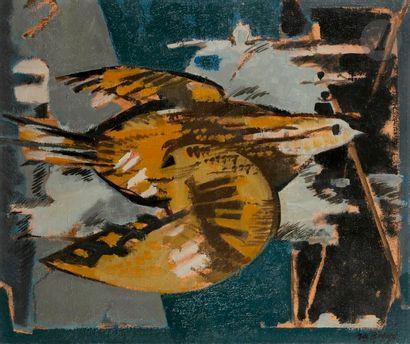 Jean-Claude BÉDARD (1928-1987) Oiseau d'or, 1956 Huile sur toile. Signée et datée...