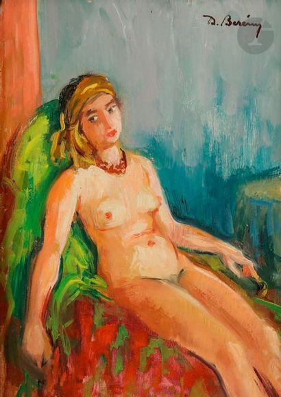 Didier BERENY (1902-?) Nu assis Huile sur...