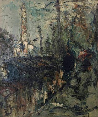 Georges BERGER (1908 - 1976) Les quais au Pont - Marie, 1959 Huile sur toile. Signée...