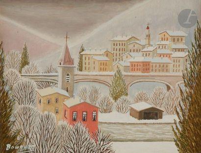 André BOUQUET (1897-1987) Roquebillière Huile sur toile. Signée en bas à gauche....