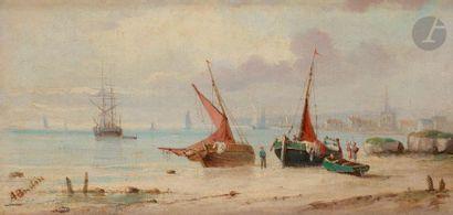 A. BUDIN (XIXe siècle) Marine 2 huiles sur...