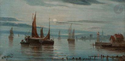A. BUDIN (XIXe siècle) Marine 2 huiles sur toile en pendant. Signées en bas à gauche....