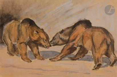 Jacques CARTIER (1907-2001) Deux ours Gouache....