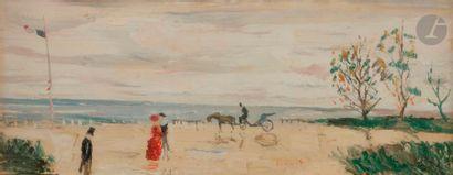 Gabriel DAUCHOT (1927-2005) Normandie, bord de mer animé Huile sur toile. Signée...