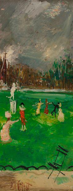 Gabriel DAUCHOT (1927-2005) Pierrot et Arlequin au parc 2 huiles sur toile en pendant....