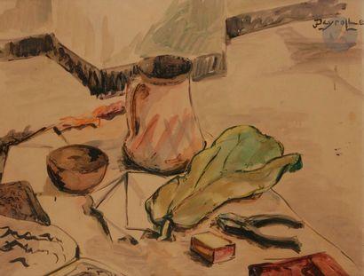 Jean DEYROLLE (1911-1967) Nature morte Aquarelle....