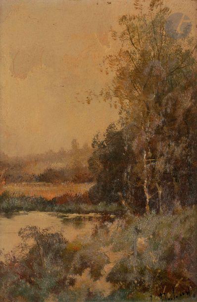 Louis DUPUY (1854-1941) (1854-1941) Paysages lacustres Deux huiles sur panneau....