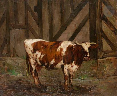 Léon DUVAL-GOZLAN (1853-1941) Vache Huile...