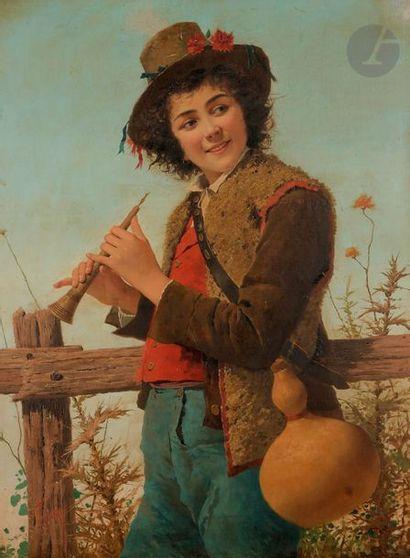 *INDONI (XIXe siècle) Jeune berger au pipo...