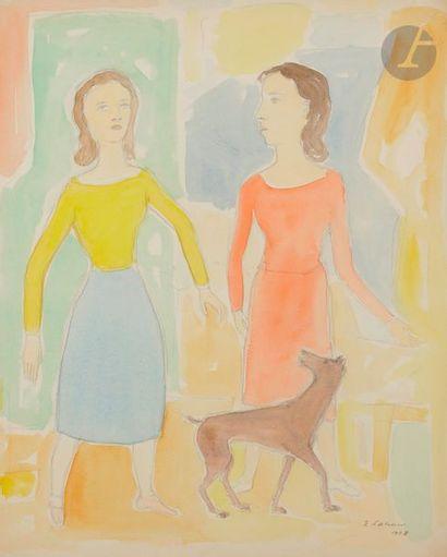 Émile LAHNER (1893-1980) Femmes et chien,...
