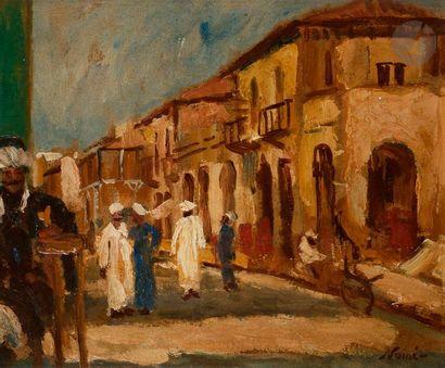 Maxime NOIRÉ (1861-1927) Algérie, rue animée Huile sur carton. Signée en bas à droite....