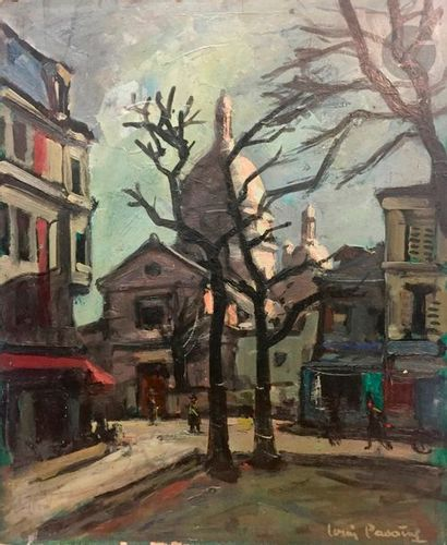 Louis PAVOING (?) (XXe siècle) Rue animée...