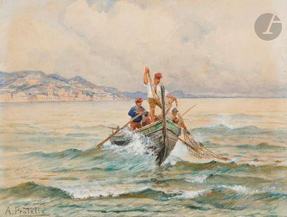 Attilio PRATELLA (1856-1949) Pêcheurs napolitains Aquarelle. Signée en bas à gauche....