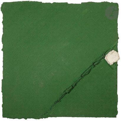 Composition, 1989 Technique mixte sur dalle de faux plafond montée sur châssis....
