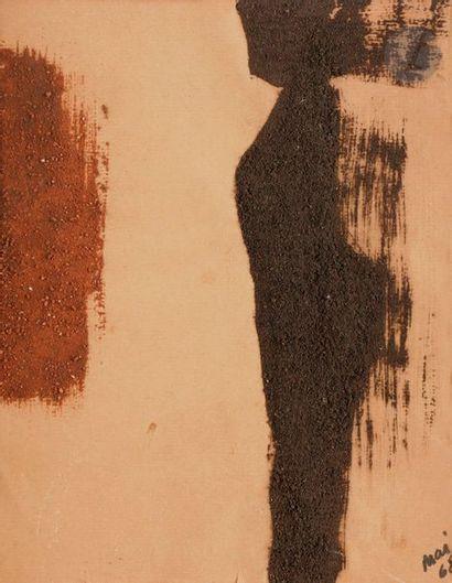 Composition, 1968 Poudre de brique sur papier. Datée en bas à droite. (Petite déchirure)....