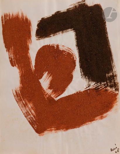 Composition, 1968 Poudre de brique sur papier. Datée en bas à droite. (Infimes rousseurs)....