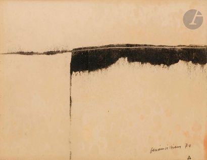 Composition, 1974 Poudre de charbon sur carton....