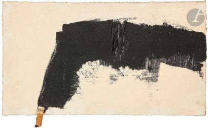 Composition, vers 1983-84 Technique mixte et mégot sur panneau. Monogrammée au dos...