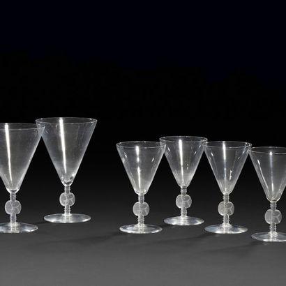 RENÉ LALIQUE (1860-1945) Suite de 6 verres...