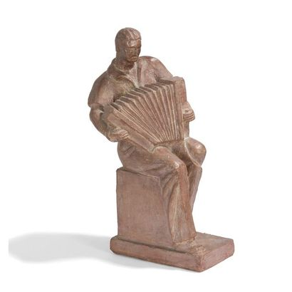 H. VRESS (XXe siècle) L'accordéoniste Sculpture....