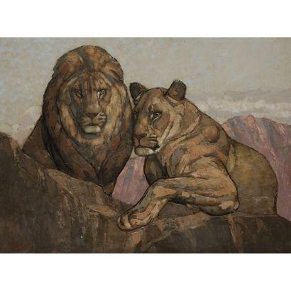 PAUL JOUVE (1878-1973) Lion et lionne Technique...