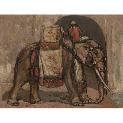 PAUL JOUVE (1878-1973) éléphant et son cornac...