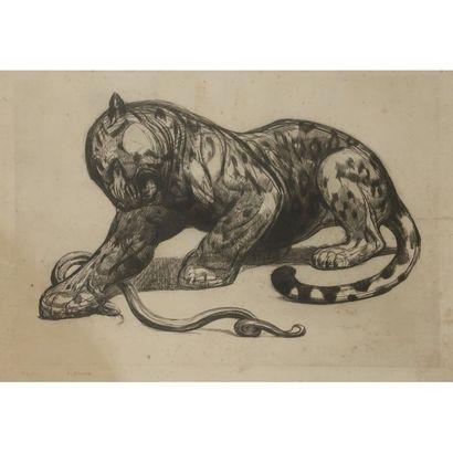 PAUL JOUVE (1878-1973) Jaguar et serpent,...