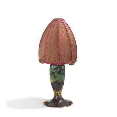 D'AURYS Paysage lacustre Pied de lampe de...