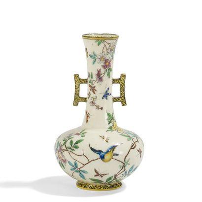 THÉODORE DECK (1823-1891) Oiseaux et papillons...