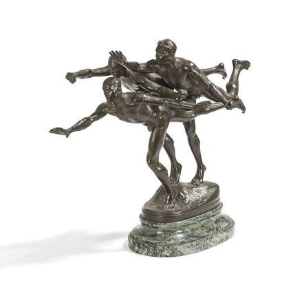 ALFRED BOUCHER (1850-1934) Au but, le modèle conçu vers [1887] Sculpture. Épreuve...