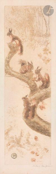 Richard Ranft (1862-1931) Écureuils sur une...