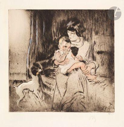 *Louis Legrand (1863-1951) Femme et enfant,...