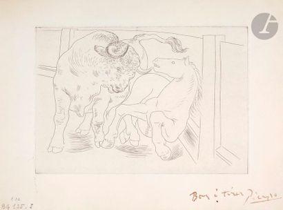 Pablo Picasso (1881-1973) Taureau et cheval...