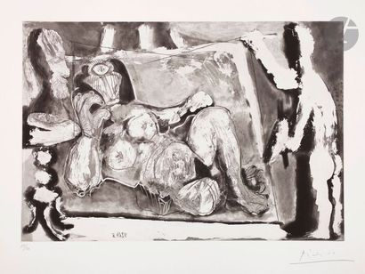 Pablo Picasso (1881-1973) Peintre travaillant...